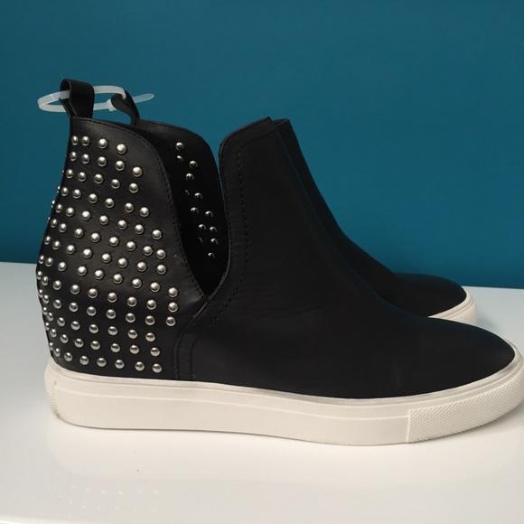 f67e139a84e STEVEN Coin Leather & Stud Wedge Sneaker